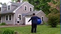 Basketball Trick Shot Bounces Off Exercise Ball and Roof