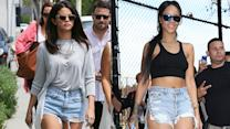 Selena Gomez vs Rihanna - Who Wore It Best? Denim Shorts Trend