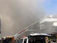 Firefighters battle blaze on navy ship at San Diego base
