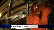 Leap, SMF's Big Red Rabbit, Gets A Much-Needed Cleaning