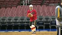 Jiri Hudler plays basketball in hockey gear