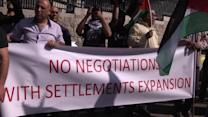Palestinians protest negotiations as Kerry visits Israel