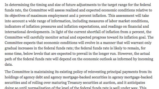 This is the most positive Fed statement we've seen in a while