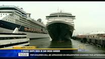 3 cruise ships dock in San Diego harbor