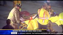 Rescuers free wrong-way driver pinned in crash