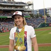 US Gold Medalist Katie Ledecky Throws Out 1st Pitch at Nationals Game