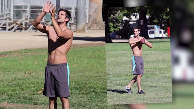 DWTS Hunk Brant Daugherty Shirtless in the Park