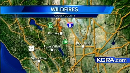 Small community evacuated for Rumsey Fire