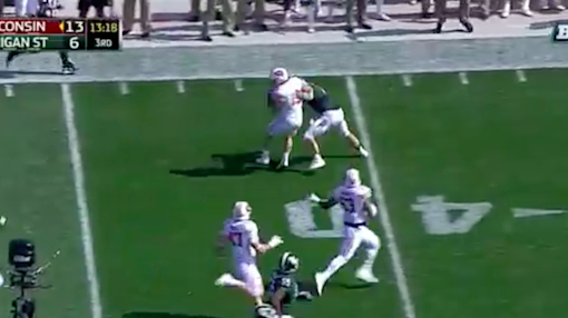 This Wisconsin defender was a high school RB, as you can tell by this sick spin move