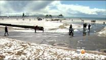 Layer Of Hail Resembles Snow In Huntington Beach
