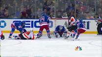 Lundqvist gets over in time to deny Simmonds