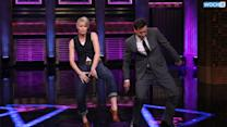Jimmy Fallon And Robin Wright Turn And Face The Music