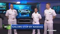 Sailors stop by the Nasdaq