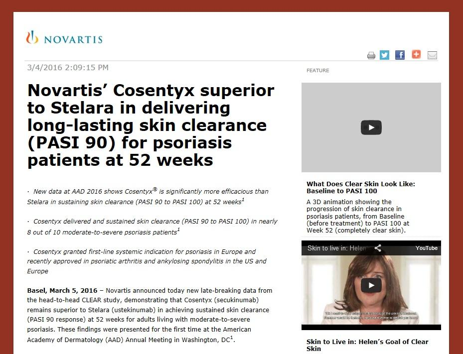 Novartis' Cosentyx superior to Stelara in delivering long