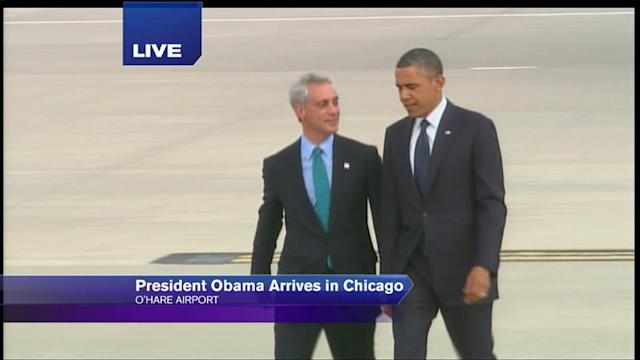 Obama arrives in Chicago for fundraisers
