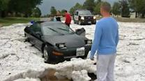 Snow Plows Used to Clean Up August Hail Storm