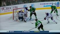 Jamie Benn finds the seven-hole on Bryzgalov