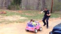 """Officer dad pulls over kids for being """"too cute"""""""