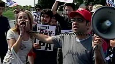 Foreign Student Workers Protest At Hershey Plant