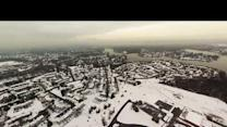 Aerial view of snow blanketing Pasadena, Maryland