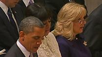 Raw: Obamas, Bidens Attend Cathedral Prayer