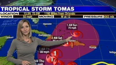 Tropical Storm Tomas Strengthens