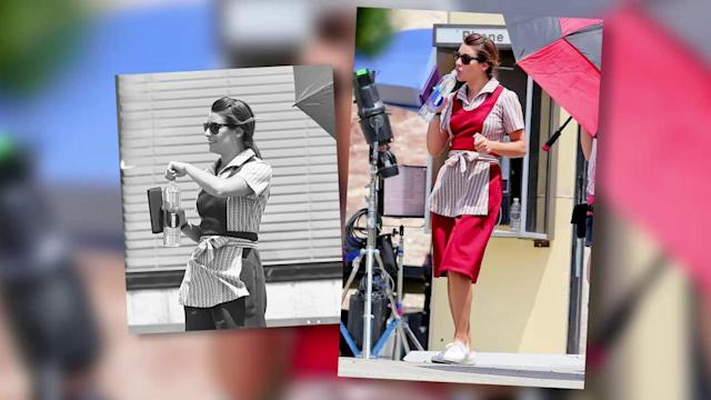 Lea Michele Wears Her Diner Best on Set of Sons of Anarchy