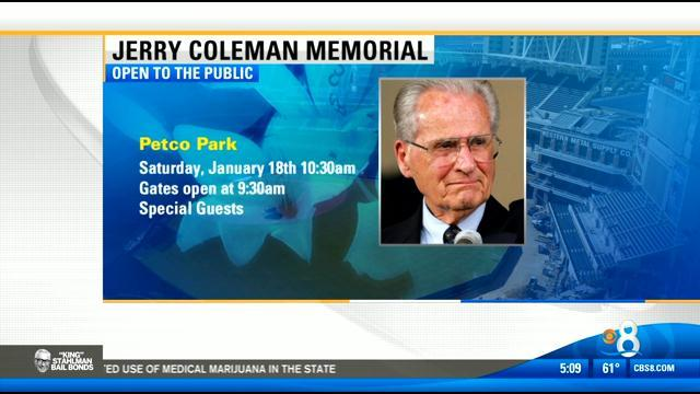 Memorial for Jerry Coleman next weekend