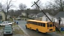 Live wires fall on school bus in Durham