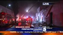 Firefighters Injured While Battling South L.A. Blaze