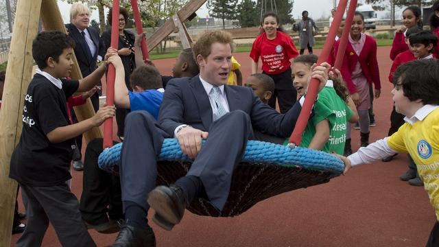 Prince Harry plays in Queen Elizabeth Olympic Park