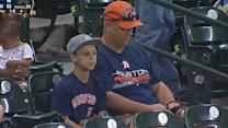 Astros fan drops ball, kid unhappy