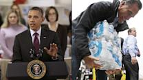 Superstorm Sandy disrupts presidential campaigns | Obama surveys damage, Romney helps with relief efforts