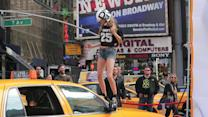 Cara Delevingne Straps on Football Gear For DKNY