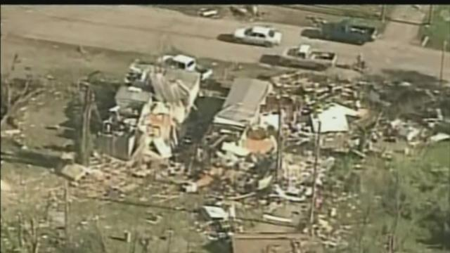 Aerials of tornado damage in Baxter Springs