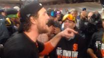 Hunter Pence's clubhouse postgame speech after Giants win NLCS