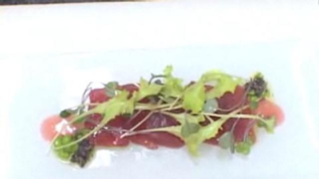 Chef Profiles and Recipes - Shea Gallante of Cru Makes Crudo with Red Apple Vinaigrette