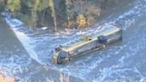 Raw: School Bus Topples Into Kansas Creek