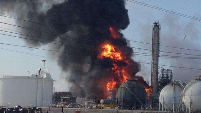 Raw: Blast, Fire at La. Chemical Plant