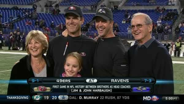 John Harbaugh pranks parents during press call