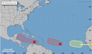 A third wave has appeared in the Atlantic, and two are forecast to turn into depressions