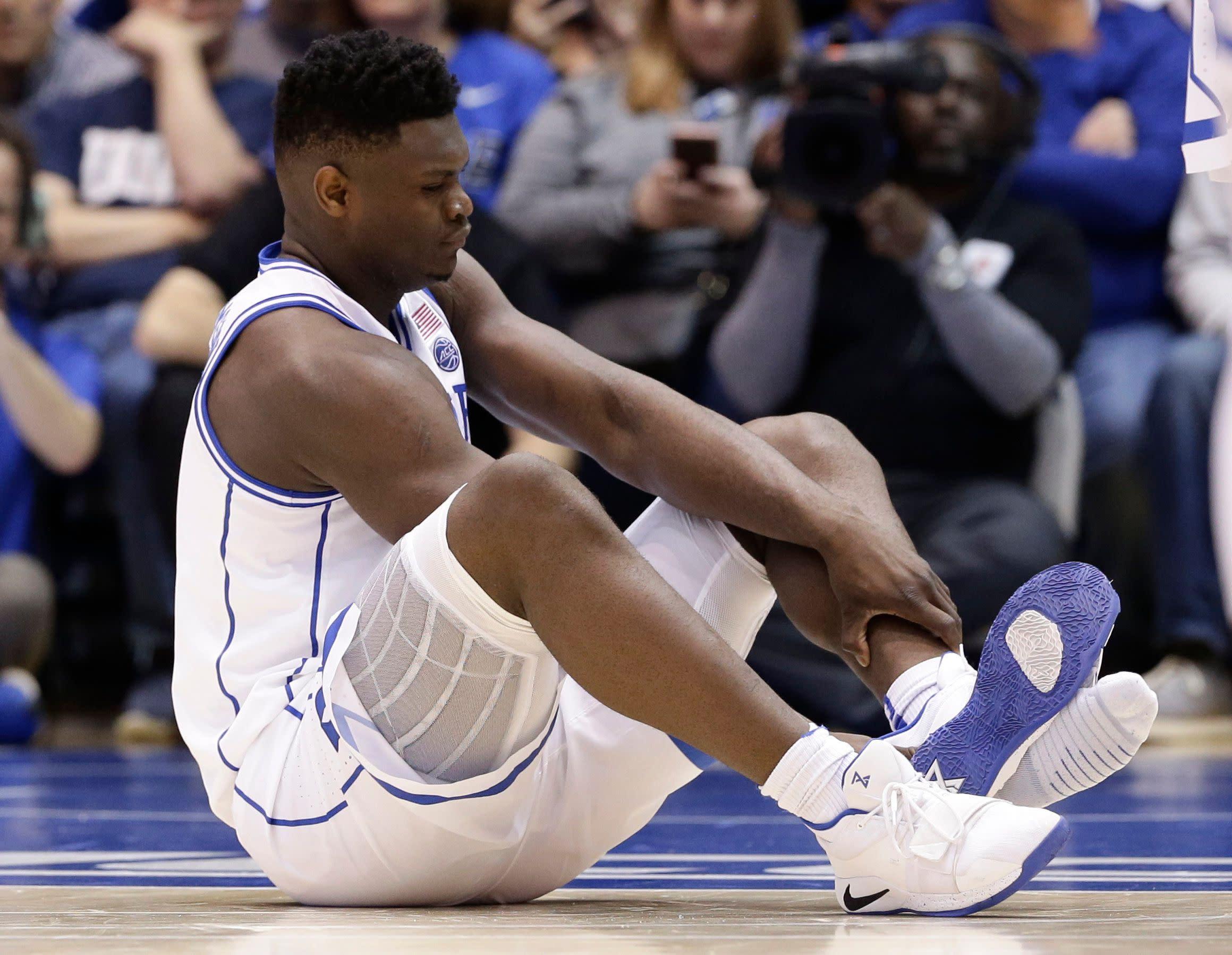 898c4b25fce Nike stock slips after Duke basketball star Zion Williamson s sneaker rips
