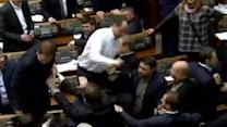 Punches thrown in Ukraine parliament