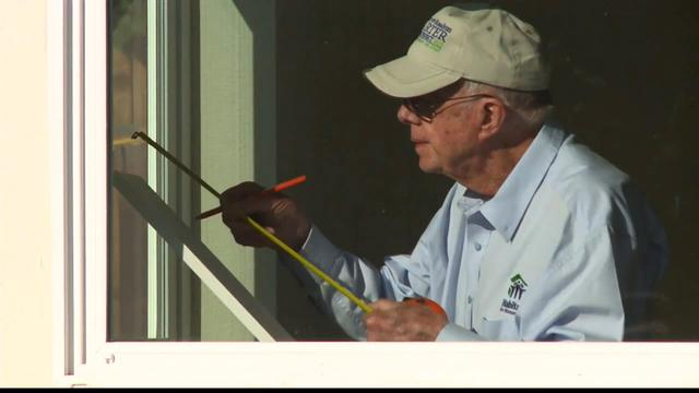 Jimmy Carter at work for World Habitat Day