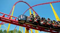 Twist and turn on Kings Dominion's Intimidator 305 roller coaster