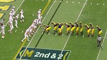 Michigan lined up in a 10-man centipede formation again