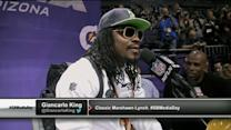 Marshawn Lynch to Deion Sanders at Super Bowl Media Day: 'I'm just here so I don't get fined'