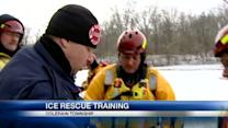 Firefighters train for water rescues on thin ice